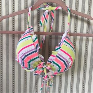 Victoria's Secret Neon Striped Padded Bikini Top